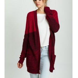 Red Color Block Cardigan